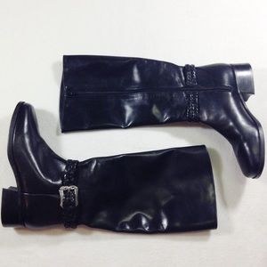 Brighton black leather tall zip up boots